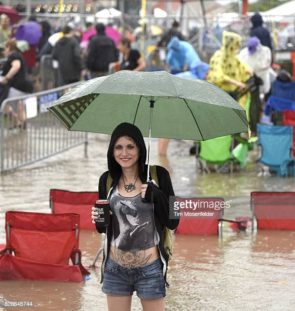 A general view after a torrential rain storm at the 2016 New Orleans Jazz Heritage Festival Day Six causing the Festival to be cancelled for the day...