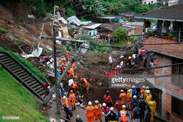 General view after mudslides in Manizales Caldas department Colombia on April 19 2017 Flooding and mudslides in central Colombia have killed at least...