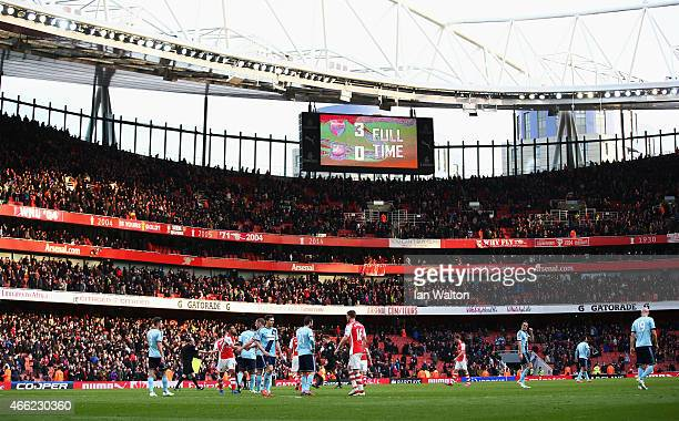 A general view after the Barclays Premier League match between Arsenal and West Ham United at Emirates Stadium on March 14 2015 in London England