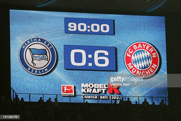 General view after the Bundesliga match between Hertha BSC Berlin and FC Bayern Muenchen at Olympic Stadium on March 17 2012 in Berlin Germany