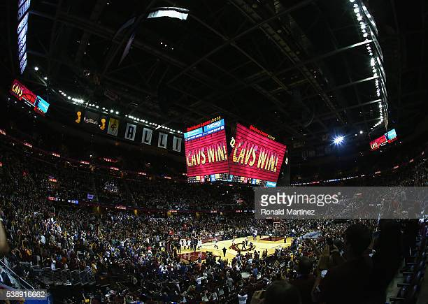 A general view after the Cleveland Cavaliers defeated the Golden State Warriors 12090 in Game 3 of the 2016 NBA Finals at Quicken Loans Arena on June...