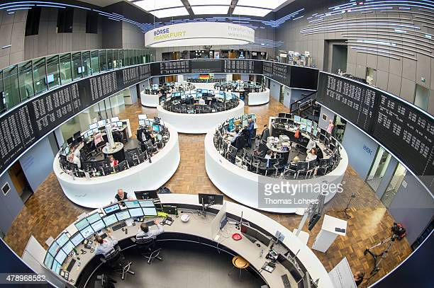 A general view after the day's performance graph showed a sharp drop of the German DAX stock market index early today and a partial recovery later on...