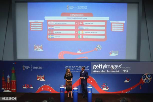 General view after the Official Draw for the 2018 FIFA World Cup European PlayOff at the FIFA headquaters on October 17 2017 in Zurich Switzerland