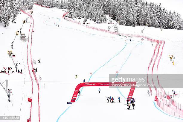 A general view after the race is cancelled during the Audi FIS Alpine Ski World Cup Women's Downhill on February 14 2016 in Crans Montana Switzerland