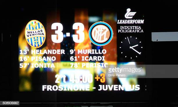 A general view after the Serie A match between Hellas Verona FC and FC Internazionale Milano at Stadio Marc'Antonio Bentegodi on February 7 2016 in...