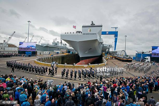 A general view ahead of Queen Elizabeth II officially naming the Royal Navy's new aircraft carrier HMS Queen Elizabeth on July 4 2014 in Rosyth...