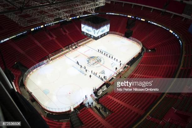 General view ahead of the 2017 SAP NHL Global Series match between Ottawa Senators and Colorado Avalanche at Ericsson Globe on November 10 2017 in...