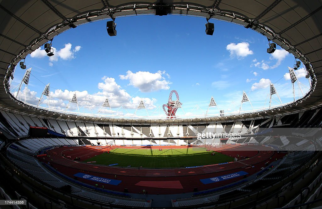 A general view ahead of the Sainsbury's Anniversary Games IAAF Diamond League at The Olympic Stadium on July 25 2013 in London England