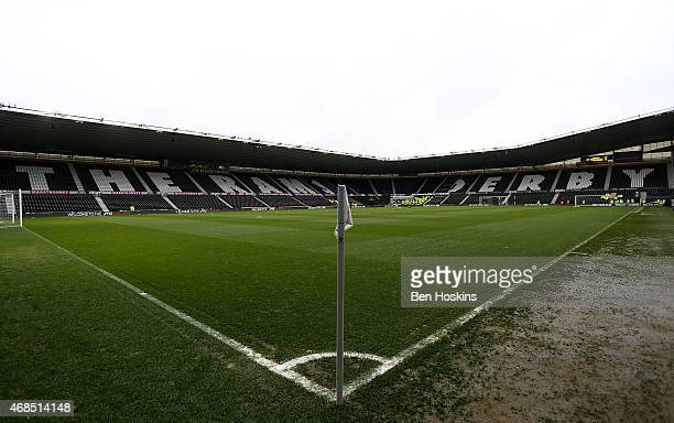 A general view ahead of the Sky Bet Championship match between Derby County and Watford at iPro Stadium on April 3 2015 in Derby England