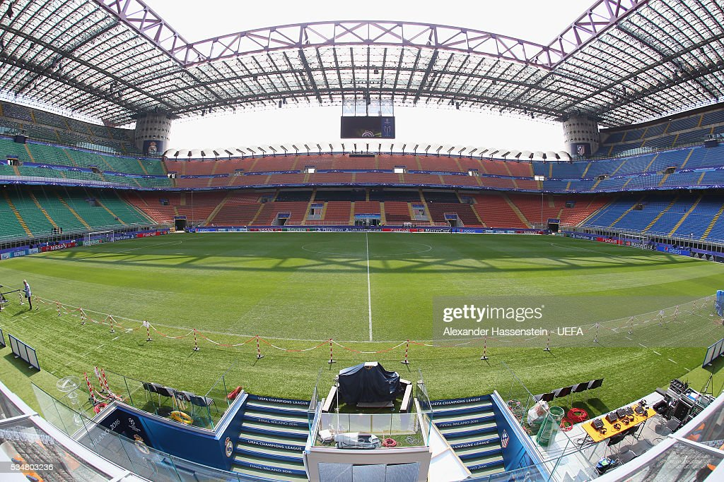 General view ahead of the UEFA Champions League Final between Real Madrid CF and Atletico de Madrid at Stadio Giuseppe Meazza on May 28, 2016 in Milan, Italy.
