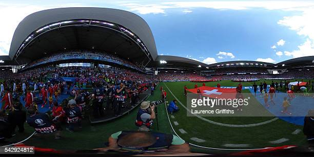 A general view ahead of the UEFA EURO 2016 round of 16 match between Switzerland and Poland at Stade GeoffroyGuichard on June 25 2016 in SaintEtienne...