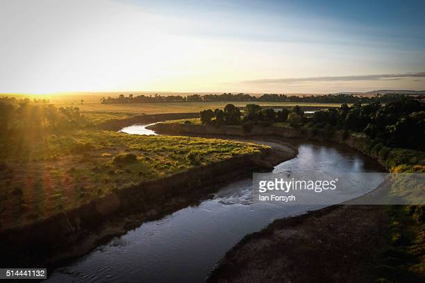 General view along the Mara River during a hot air balloon flight over the Massai Mara National Reserve on February 29 2016 in Talek Kenya Situated...