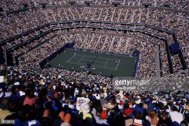 General view Arthur Ashe Stadium during the US Open at the USTA National Tennis Center in Flushing New York September 3 2001 Mandatory Credit Clive...