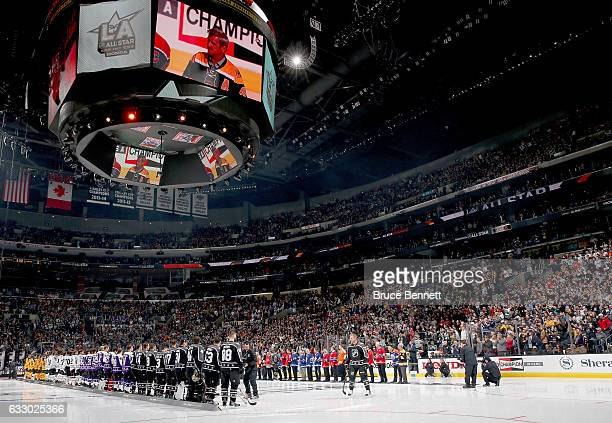 A general view as 2017 NHL AllStar players stand on the ice with members of the NHL 100 prior to the 2017 Honda NHL AllStar Game at Staples Center on...