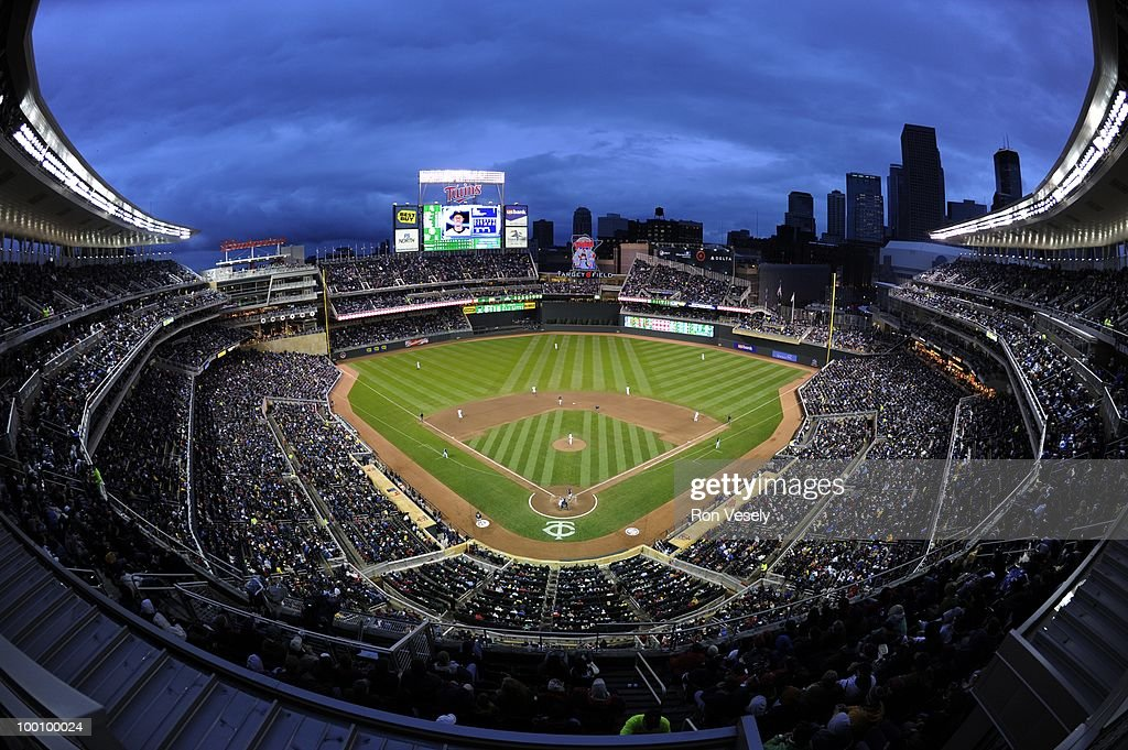 A general view as 38, 764 fans watch the Minnesota Twins play the Chicago White Sox at Target FIeld in Minneapolis, Minnesota on May 11, 2010.. The White Sox defeated the Twins 5-2.