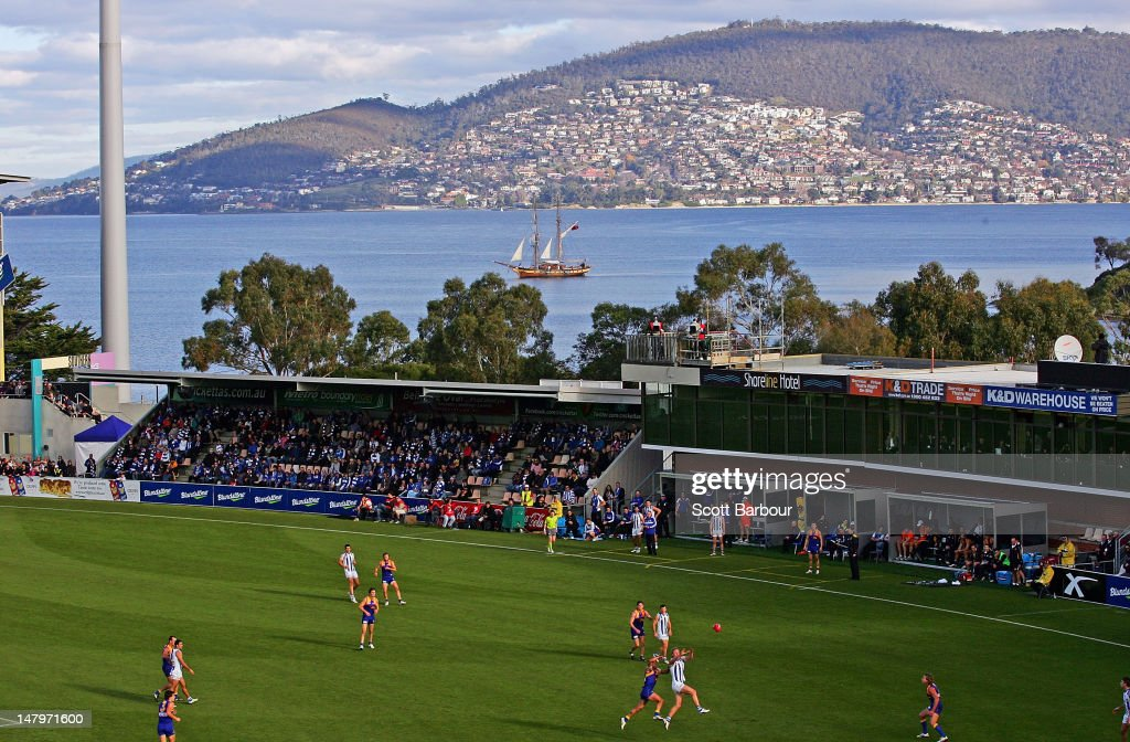 A general view as a boat sails past during the round 15 AFL match between the North Melbourne Kangaroos and the West Coast Eagles at Blundstone Arena on July 7, 2012 in Hobart, Australia.