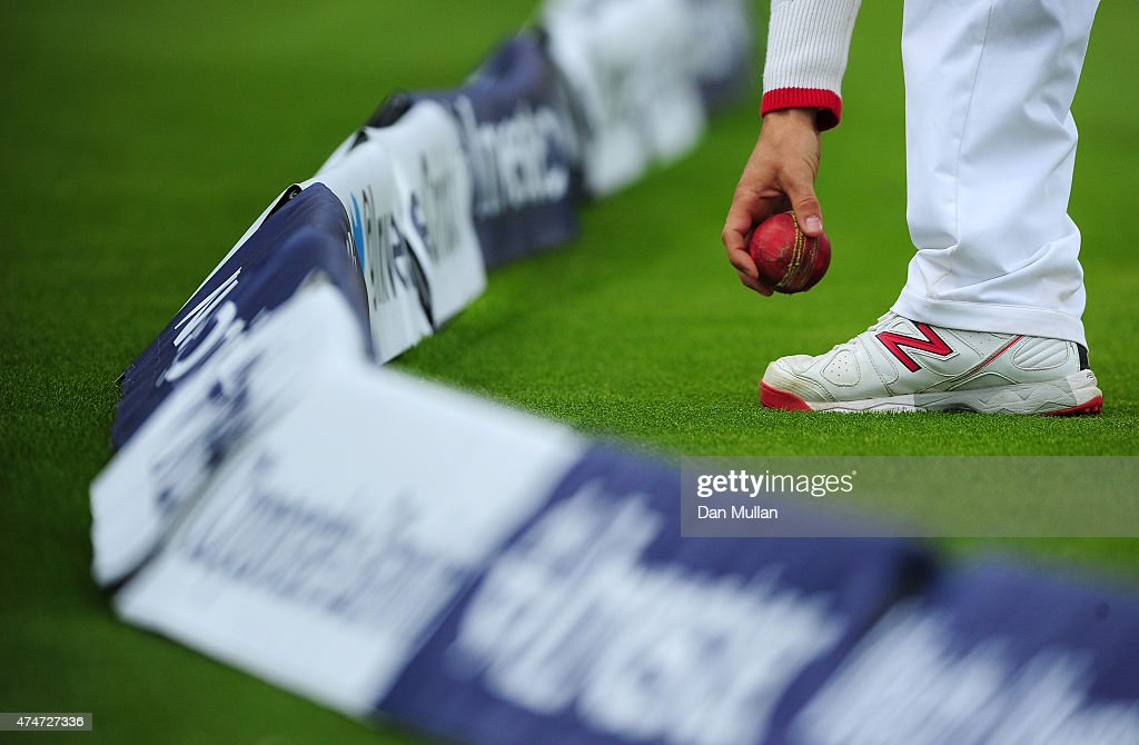 A general view as a fielder collects the ball from the boundary rope during day five of the 1st Investec Test Match between England and New Zealand...