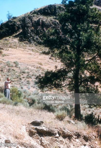 General view as a man shoots at a woodchuck in the wilderness circa July 1951 in Lewiston Idaho