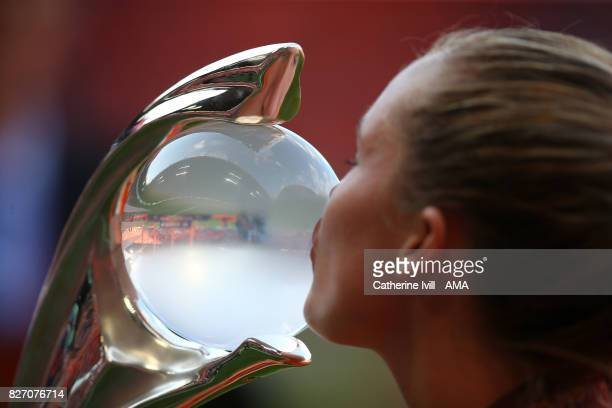 General view as a player kisses the trophy after the UEFA Women's Euro 2017 final match between Denmark and Netherlands at De Grolsch Veste Stadium...