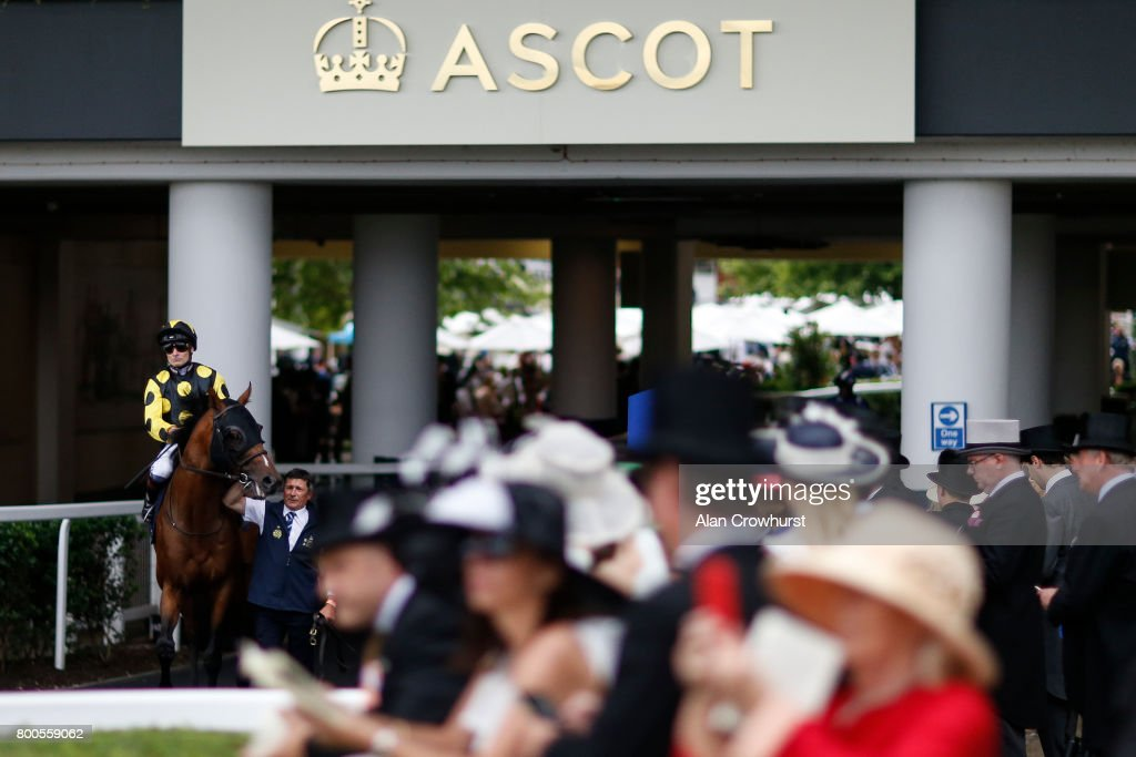A general view as a runner and rider make their way to the course on day 5 of Royal Ascot at Ascot Racecourse on June 24, 2017 in Ascot, England.