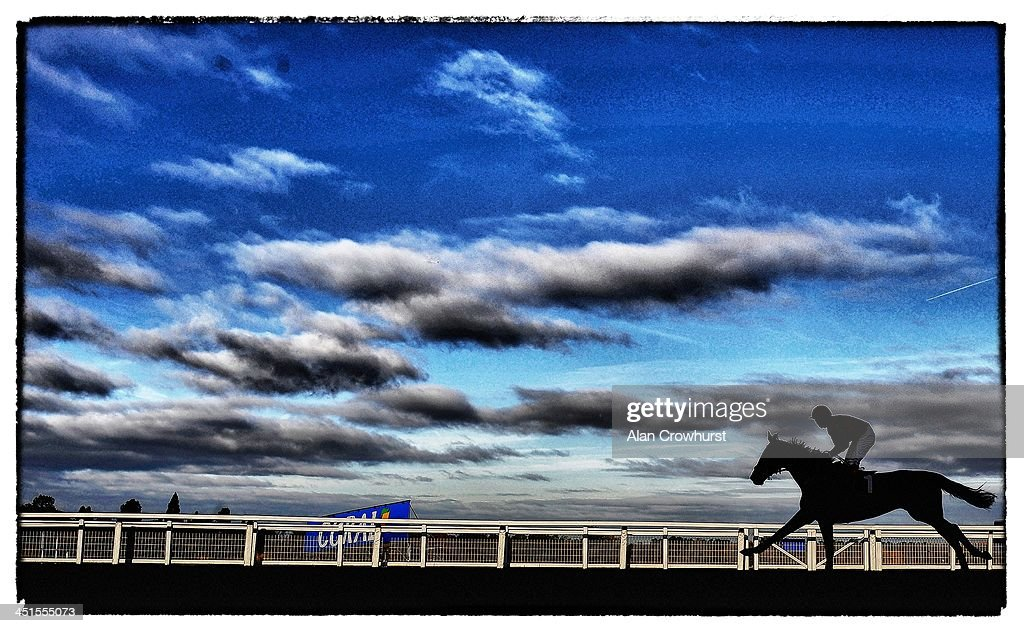 A general view as a runner makes its way down the straight at Ascot racecourse on November 23, 2013 in Ascot, England.