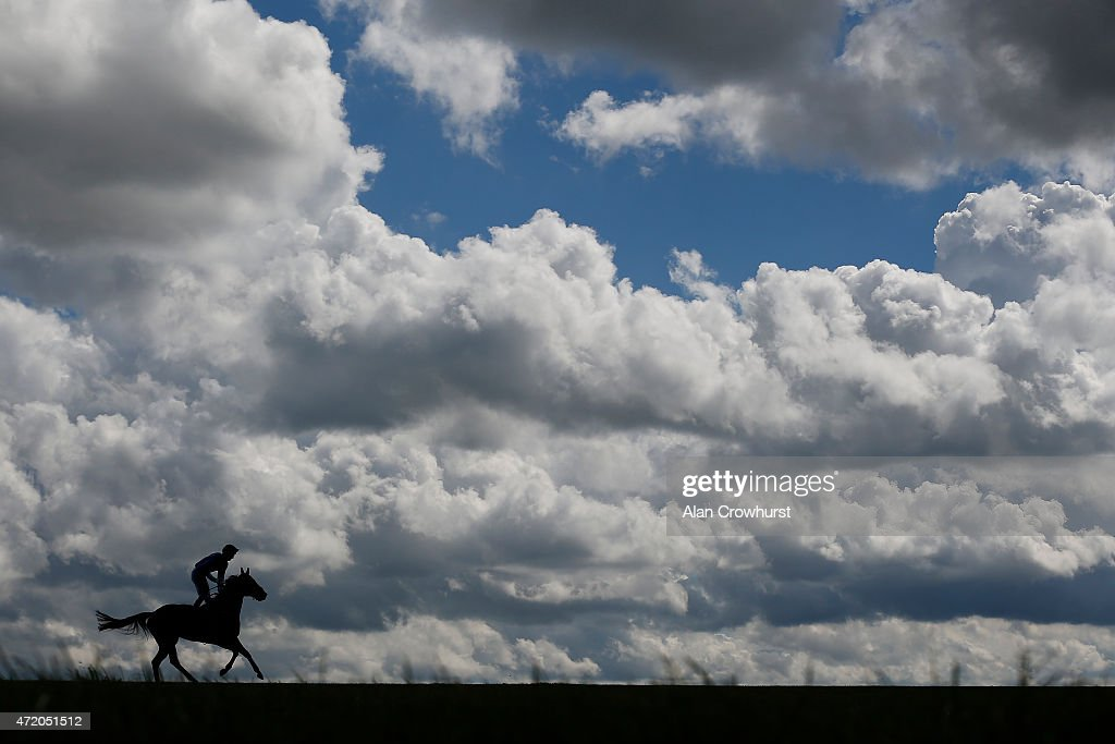 A general view as a runner pulls up at the top of the hill at Newmarket racecourse on May 03 2015 in Newmarket England