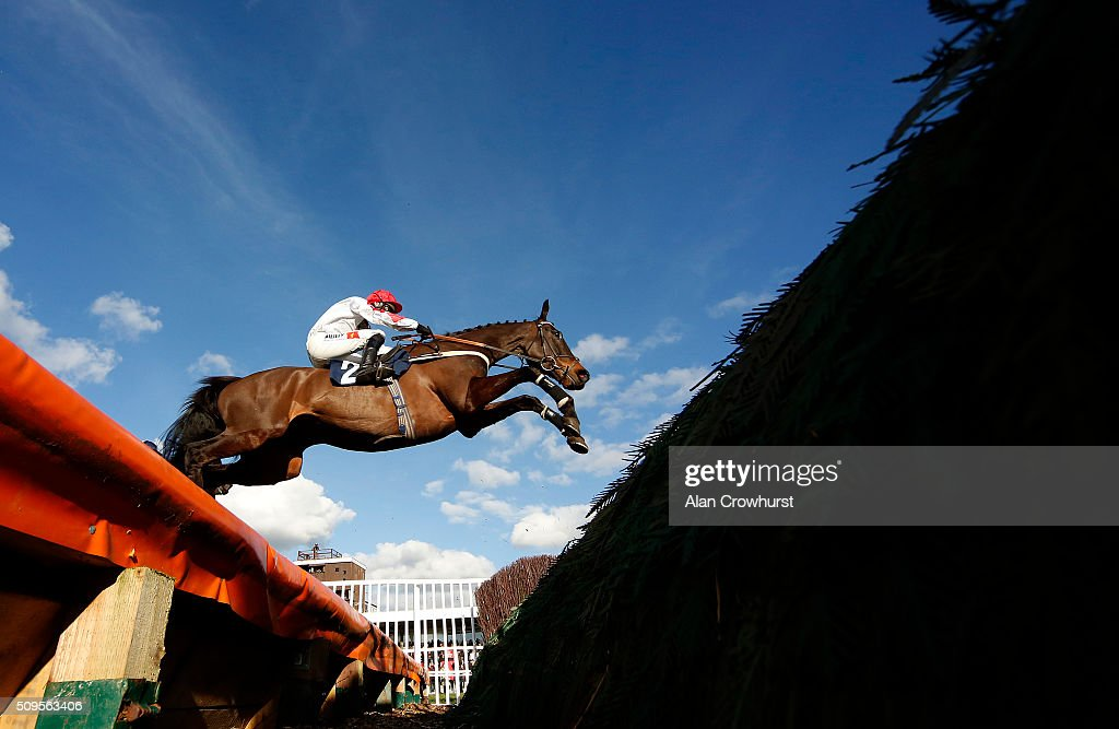 A general view as a runners clears an open ditch at Huntingdon racecourse on February 11, 2016 in Huntingdon, England.