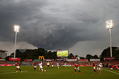 A general view as a storm cell passes over during the round four ALeague match between the Western Sydney Wanderers and Perth Glory at Pirtek Stadium...