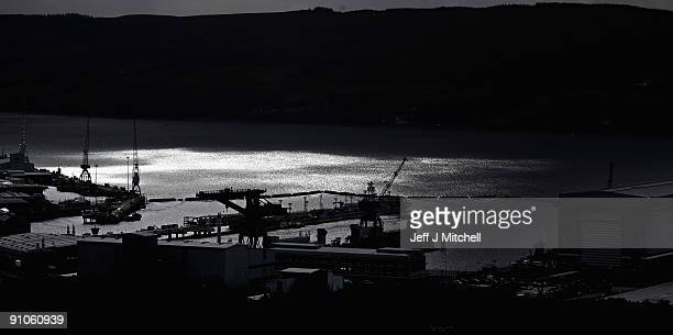 A general view as a trident submarine sits in dock at Faslane Naval base on September 23 2009 in Faslane Scotland British prime minister Gordon Brown...