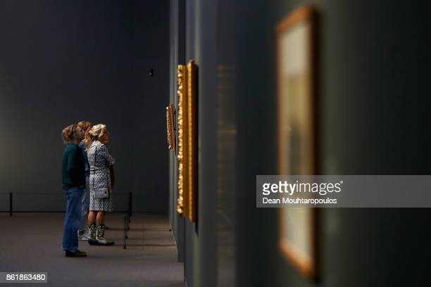 A general view as a visitors look at paintings by Matthijs Maris during a special exhibition held at the Rijksmuseum Exhibition on October 13 2017 in...