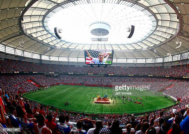 A general view as Abby Wambach of the United States is seen on the videoboard after the USA's 52 victory against Japan in the FIFA Women's World Cup...