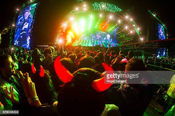 A general view as AC/DC perform on the opening night of Rock or Bust Tour at the Passeio Maritimo De Alges on May 7 2016 in Lisbon Portugal