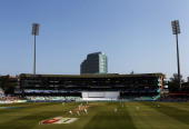 A general view as Alastair Cook and Paul Collingwood of England bat during day three of the second test match between South Africa and England at...