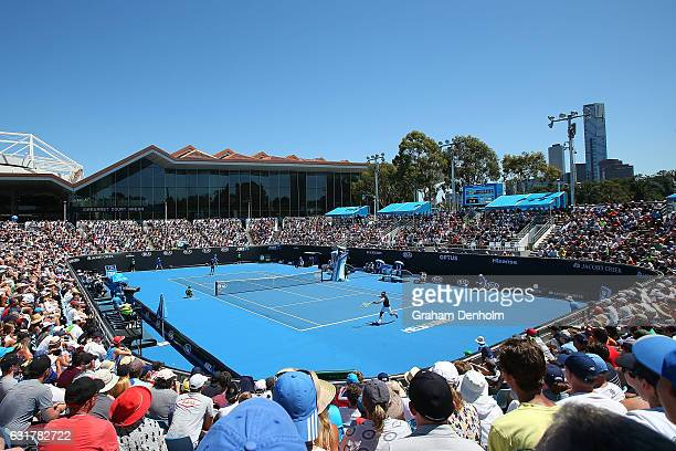 A general view as Alex De Minaur of Australia and Gerald Melzer of Austria compete in their first round match on day one of the 2017 Australian Open...