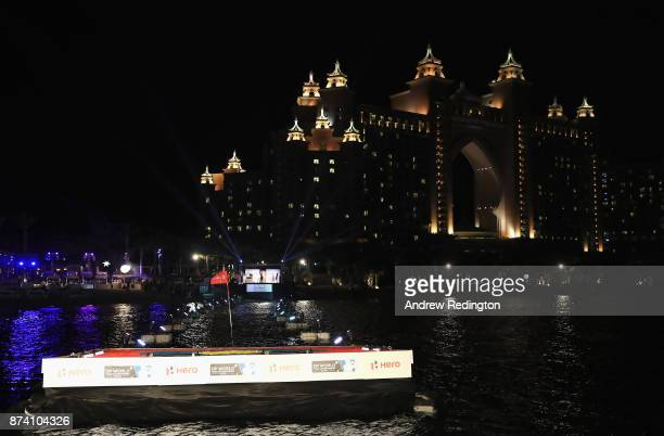 A general view as Alex Noren of Sweden takes part in the Hero Challenge prior to the DP World Tour Championship at Atlantis The Palm on November 14...