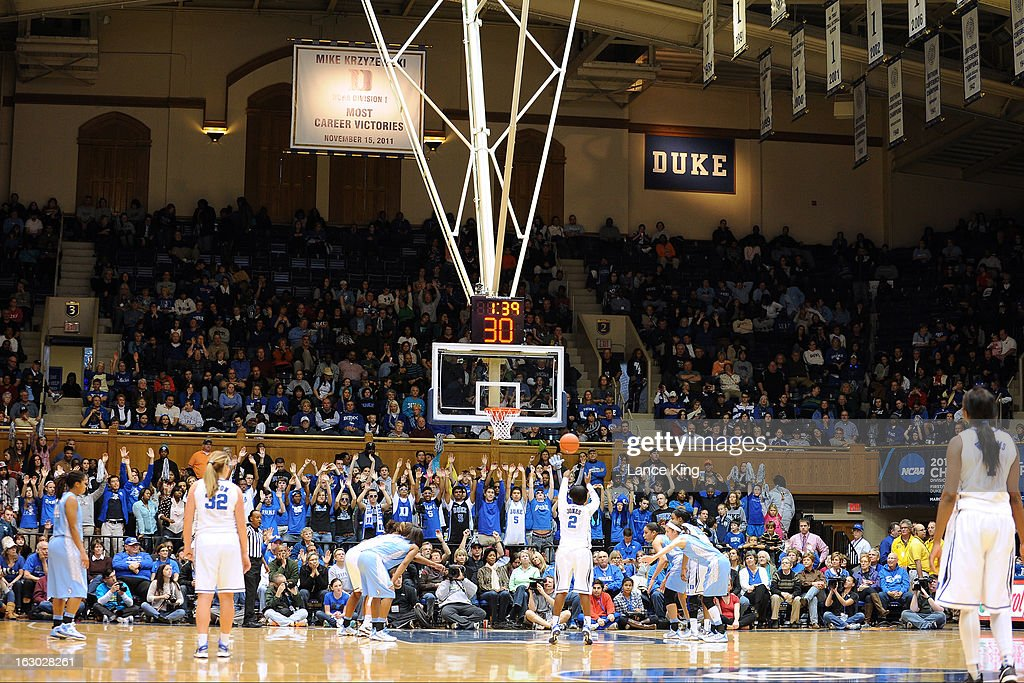 A general view as Alexis Jones #2 of the Duke Blue Devils shoots a free throw against the North Carolina Tar Heels at Cameron Indoor Stadium on March 3, 2013 in Durham, North Carolina. Duke defeated North Carolina 65-58.