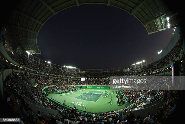 A general view as Andy Murray of Great Britain serves to Juan Martin Del Potro of Argentina during the Men's Singles Gold Medal Match on Day 9 of the...