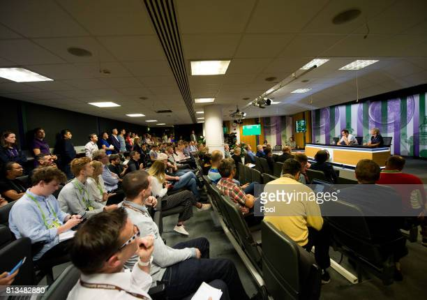 A general view as Andy Murray of Great Britain talks during a press conference on day nine of the Wimbledon Lawn Tennis Championships at the All...