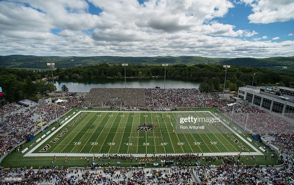General view as Army kicks off the Stanford at the start of the game September 14 2013 at Michie Stadium in West Point New York Stanford defeated...