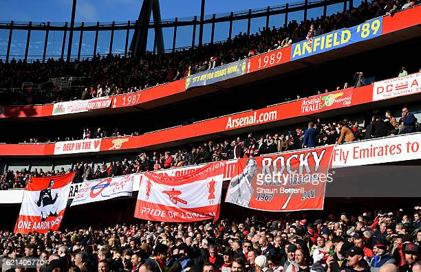 A general view as Arsenal fans show their support during the Premier League match between Arsenal and Tottenham Hotspur at Emirates Stadium on...