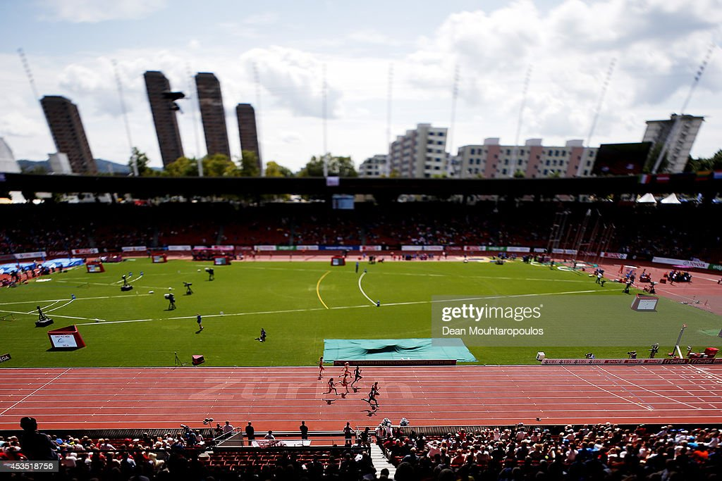 A general view as athletes compete in the competes in the Women's 100 metres heats during day one of the 22nd European Athletics Championships at Stadium Letzigrund on August 12, 2014 in Zurich, Switzerland.