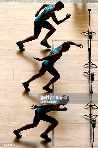 A general view as athletes compete in the Repeat Sprint Test during the 2015 AFL Draft Combine at Etihad Stadium on October 10 2015 in Melbourne...