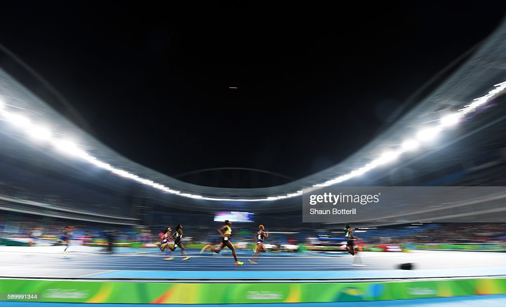 A general view as athletes run in the in the Women's 400m final on Day 10 of the Rio 2016 Olympic Games at the Olympic Stadium on August 15, 2016 in Rio de Janeiro, Brazil.