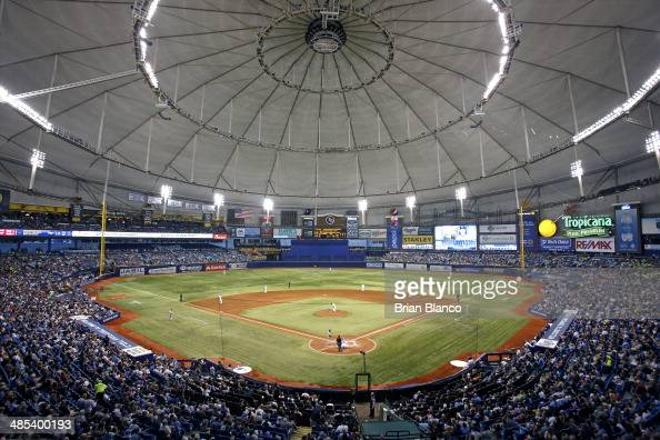 General view as baseball fans watch the Tampa Bay Rays take on the New York Yankees during the sixth inning of a game on April 17 2014 at Tropicana...