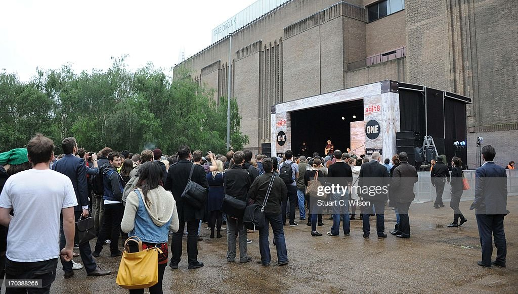 A general view as Biffy Clyro perform at agit8 at Tate Modern, ONE's campaign ahead of the G8 on June 12, 2013 in London, England.