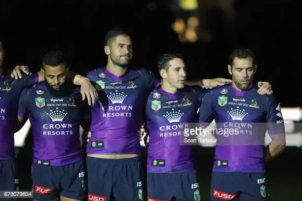 A general view as Billy Slater of the Melbourne Storm Cameron Smith of the Melbourne Storm Josh AddoCarr of the Melbourne Storm and the Storm stand...