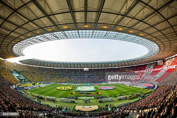 A general view as both teams line up prior to the DFB Cup Final match between Bayern Muenchen and Borussia Dortmund at Olympiastadion on May 21 2016...