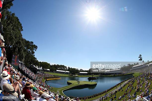 A general view as Bubba Watson Billy Horschel and Matt Kuchar putt on the 17th green during round one of THE PLAYERS Championship at the TPC Sawgrass...