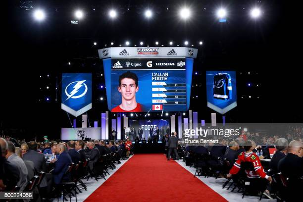 A general view as Callan Foote is selected 14th overall by the Tampa Bay Lightning during the 2017 NHL Draft at the United Center on June 23 2017 in...