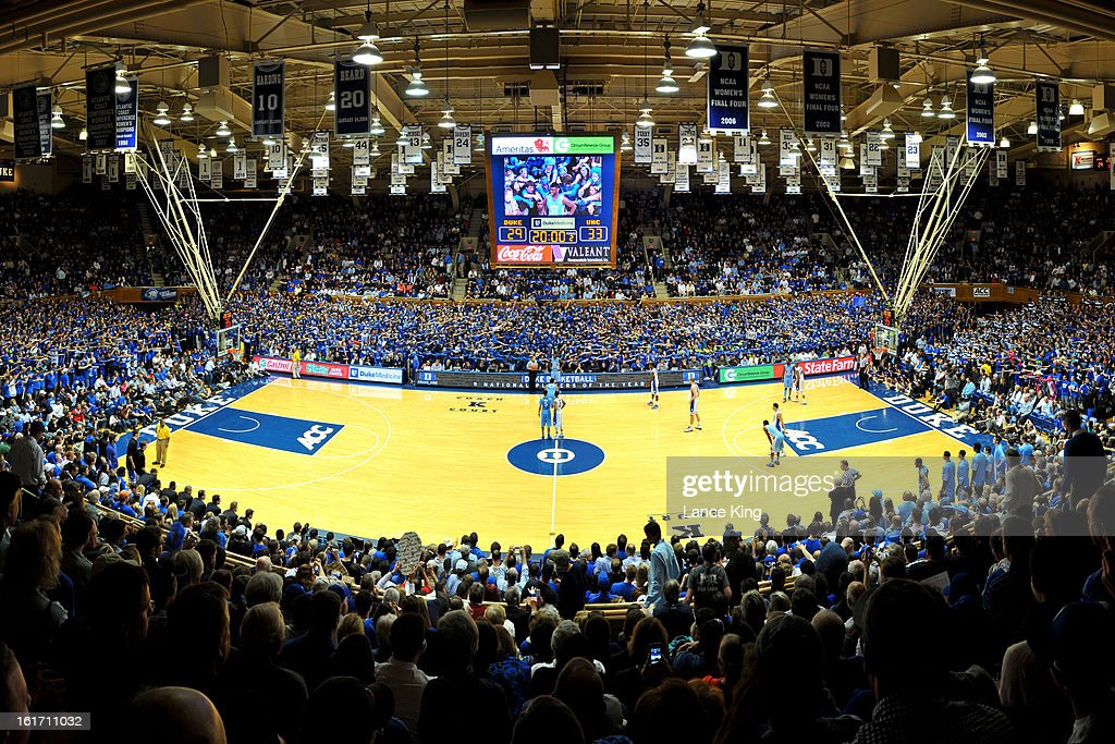 A general view as Cameron Crazies and fans of the Duke Blue Devils try to distract Reggie Bullock #35 of the North Carolina Tar Heels at Cameron Indoor Stadium on February 13, 2013 in Durham, North Carolina. Duke defeated North Carolina 73-68.